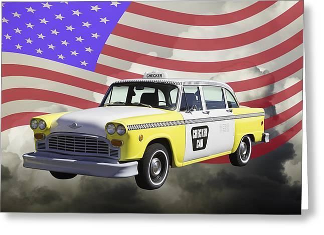 Checker Greeting Cards - Yellow and White Checkered Taxi Cab And US Flag Greeting Card by Keith Webber Jr