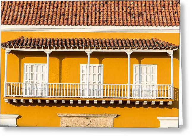 Old Porch Greeting Cards - Yellow and White Colonial Balcony Greeting Card by Jess Kraft