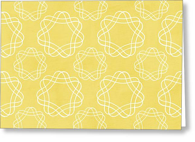 Yellow Line Greeting Cards - Yellow and White Geometric Floral  Greeting Card by Linda Woods