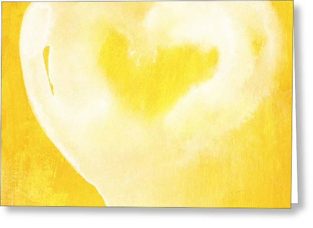 Sun Mixed Media Greeting Cards - Yellow and White Love Greeting Card by Linda Woods