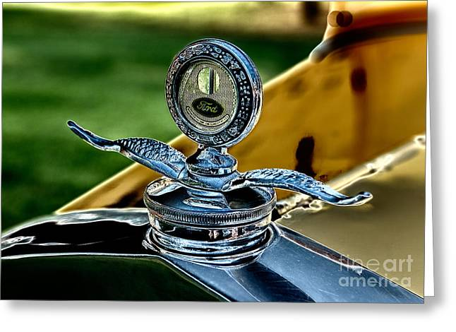 Parts Of Cars Greeting Cards - Yellow Antique Ford Hoodornament Greeting Card by Iris Richardson
