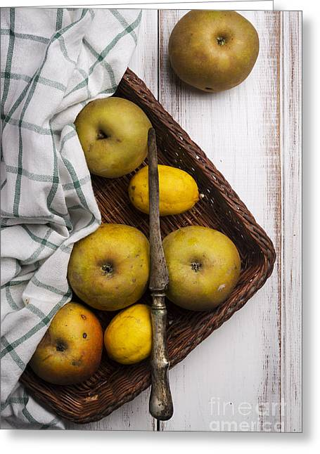 Menu Greeting Cards - Yellow Apples Greeting Card by Jelena Jovanovic