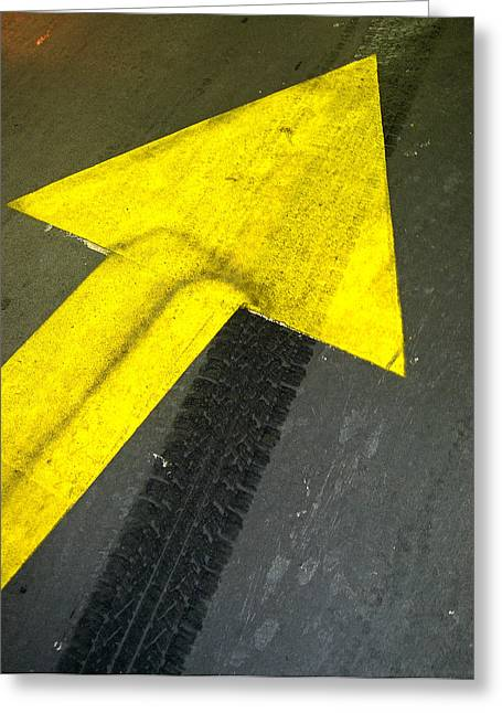 Road Marking Greeting Cards - Yellow Arrow Sign On Road Greeting Card by Panoramic Images