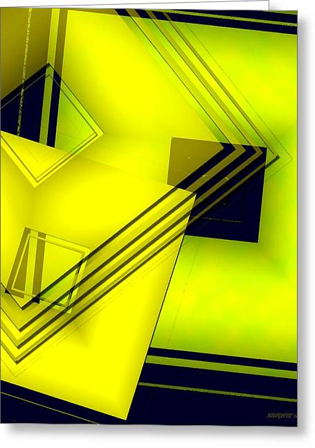 Transparency Geometric Greeting Cards - Yellow Art with Lines and Transparency Greeting Card by Mario  Perez