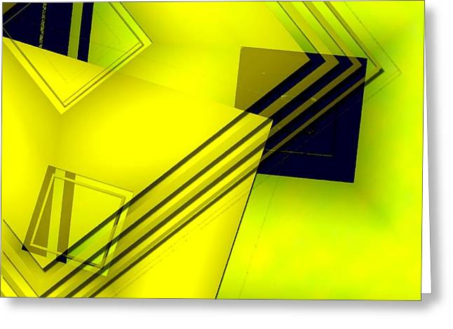 Yellow Art with Lines and Transparency Greeting Card by Mario  Perez