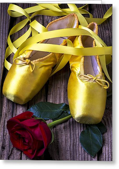 Dancing Petals Greeting Cards - Yellow Ballet Shoes Greeting Card by Garry Gay