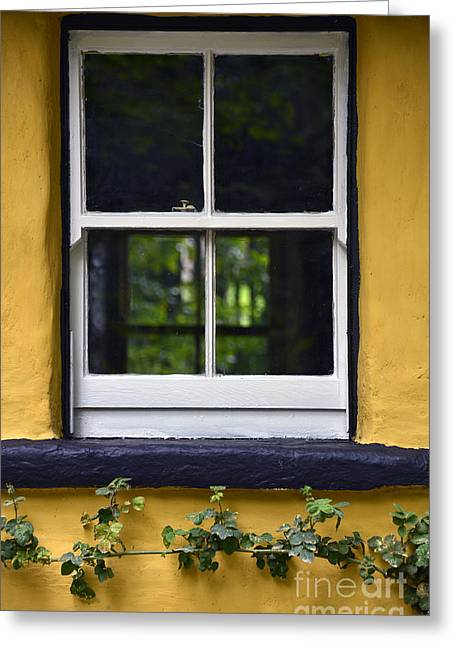 Repaired Digital Art Greeting Cards - Yellow Barn Window Greeting Card by Svetlana Sewell
