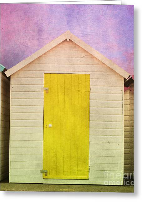 Terri Waters Greeting Cards - Yellow Beach Hut Greeting Card by Terri  Waters