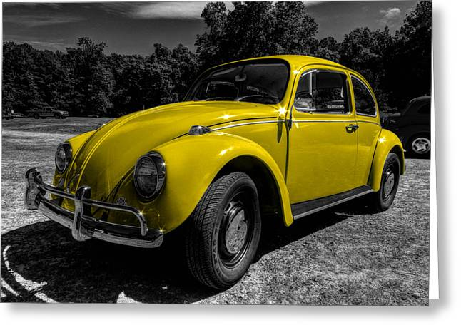 Volkswagen Beetle Greeting Cards - Yellow Beetle 001 Greeting Card by Lance Vaughn