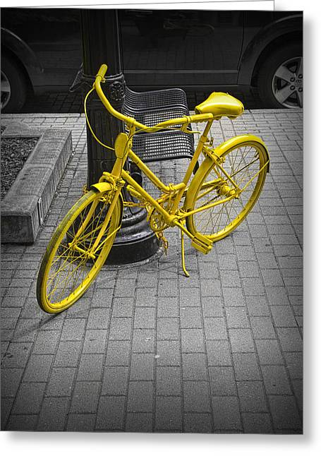 Color Wheel Art Greeting Cards - Yellow Bicycle Greeting Card by Randall Nyhof
