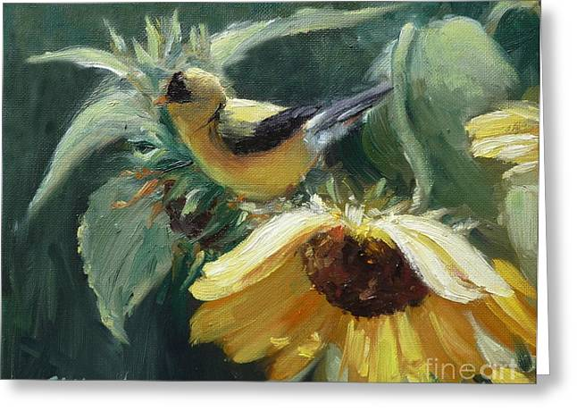 Yellow Bird - Hooded Oriole Greeting Card by Viktoria K Majestic