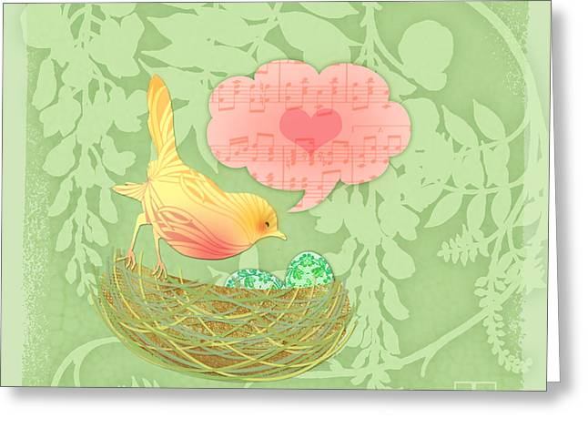 Valerie Lesiak Greeting Cards - Yellow Birds Love Song Greeting Card by Valerie   Drake Lesiak