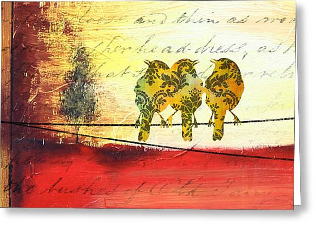 Abstract Digital Paintings Greeting Cards - Yellow Birds On Wires Greeting Card by Jean Plout