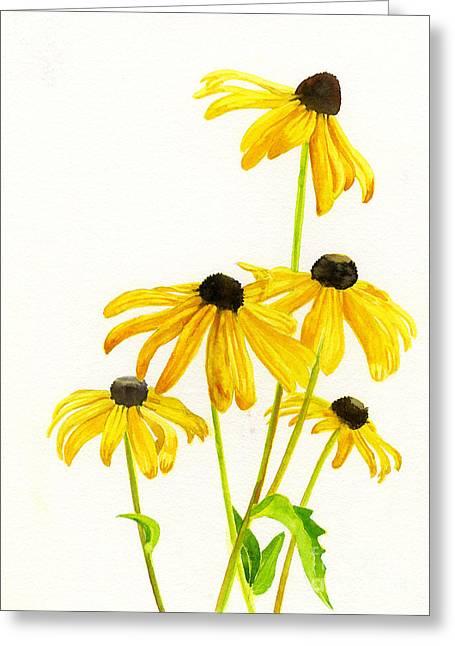 Brown Eye Susan Greeting Cards - Yellow Black Eyed Susans Greeting Card by Sharon Freeman