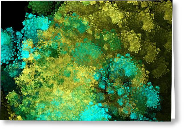 Blue And Green Digital Art Greeting Cards - Yellow Blue And Green Explosion - Abstract Series 3 Of 5 - Fractal Art Greeting Card by Andee Design