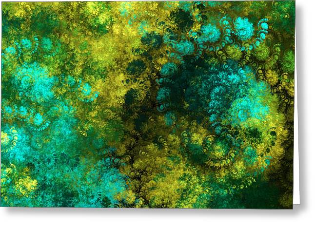 Blue And Green Digital Art Greeting Cards - Yellow Blue And Green Explosion - Abstract Series 5 Of 5 - Fractal Art Greeting Card by Andee Design