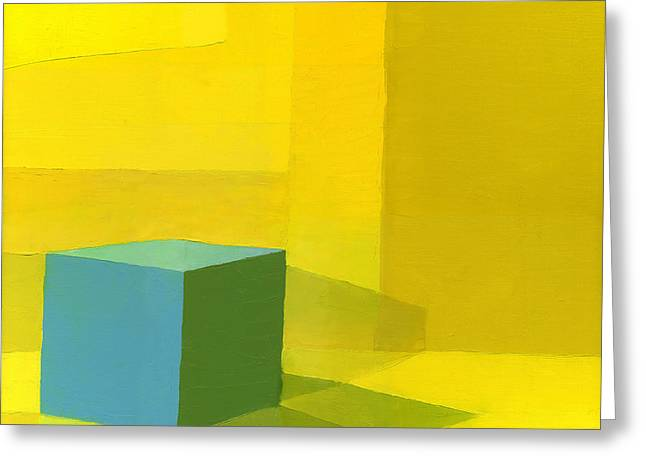 Yellow  Blue Oil On Canvas Greeting Card by Daniel Cacouault