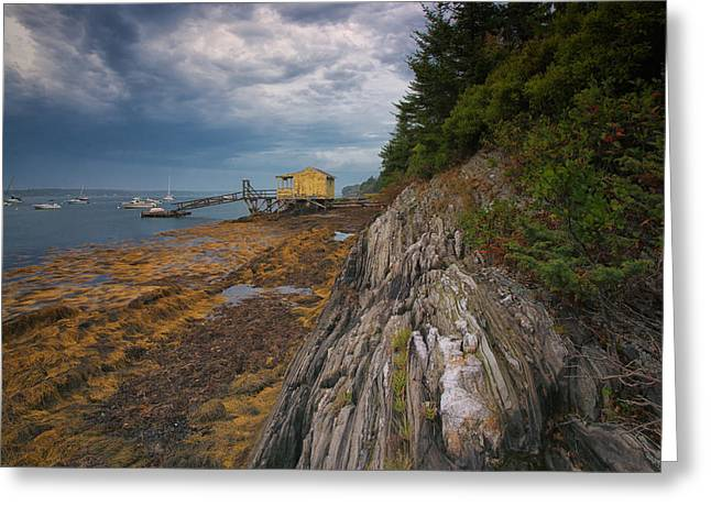 Yellow Boat House Greeting Card by Darylann Leonard Photography