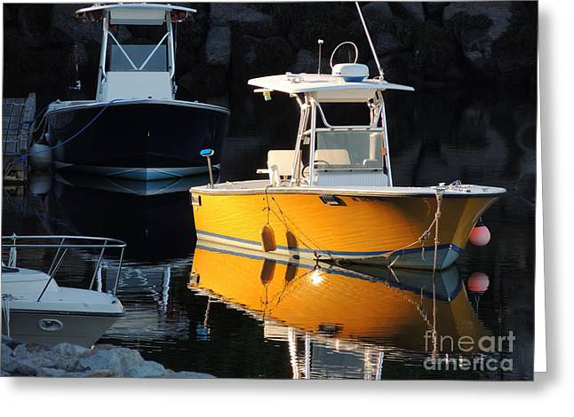 The Bean Greeting Cards - Yellow Boat Greeting Card by Marcia Lee Jones