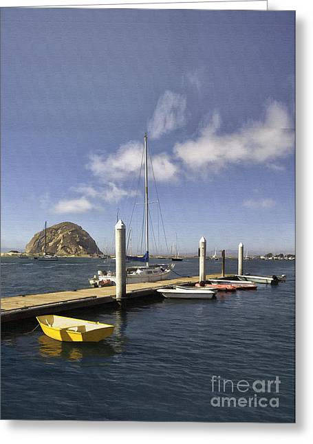 Morro Bay Harbor Greeting Cards - Yellow Boat Greeting Card by Sharon Foster