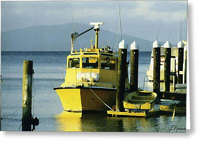 Yellow Boats Greeting Card by Ellen Henneke