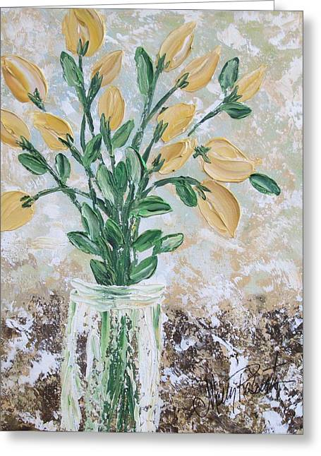Vase Of Flowers Greeting Cards - Yellow Bouquet Greeting Card by Molly Roberts