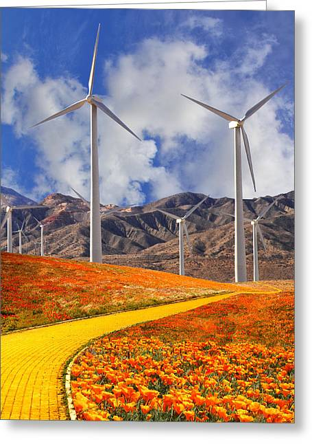 Archangel Greeting Cards - YELLOW BRICK ROAD Palm Springs Greeting Card by William Dey