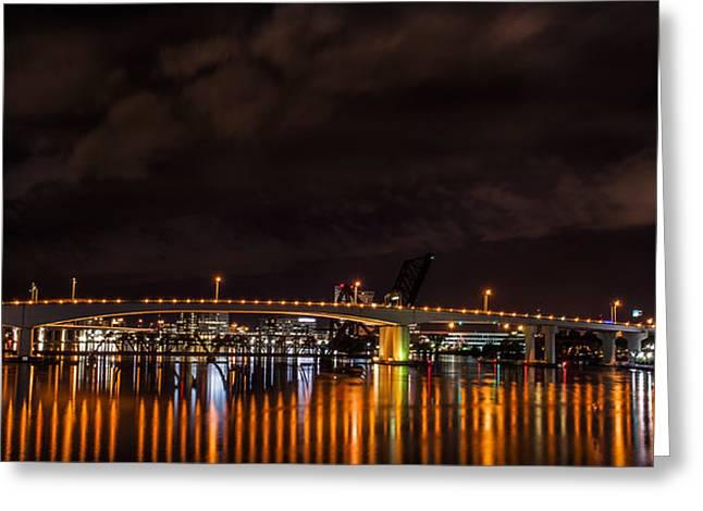 Jacksonville Pyrography Greeting Cards - Yellow bridge Greeting Card by Alex Heath