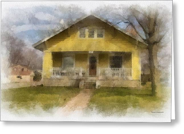 Residential Structure Digital Greeting Cards - Yellow Bungalow Porch Photo Art 01 Greeting Card by Thomas Woolworth