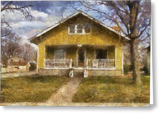 Residential Structure Digital Greeting Cards - Yellow Bungalow Porch Photo Art 02 Greeting Card by Thomas Woolworth