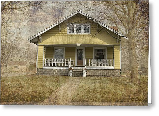 Residential Structure Digital Greeting Cards - Yellow Bungalow Greeting Card by Thomas Woolworth