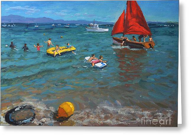 Blue Sailboat Greeting Cards - Yellow buoy and red sails Greeting Card by Andrew Macara
