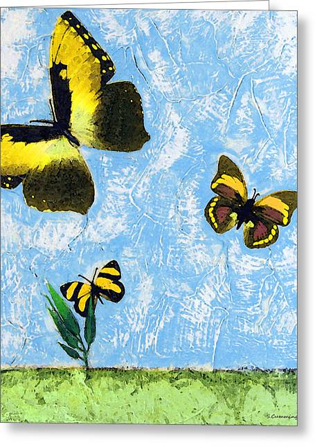 Insect Mixed Media Greeting Cards - Yellow Butterflies - Spring Art by Sharon Cummings Greeting Card by Sharon Cummings