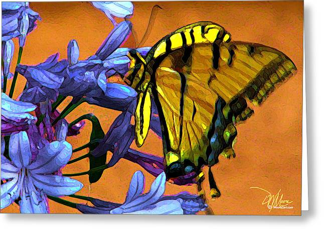 Still Life Photographs Paintings Greeting Cards - Yellow Butterfly on Agapanthus Greeting Card by Douglas MooreZart