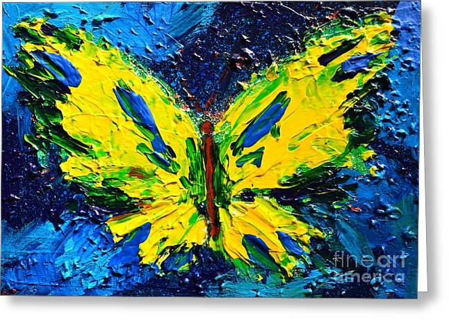 Artwork Of Butterfly Greeting Cards - Yellow Butterfly Greeting Card by Patricia Awapara