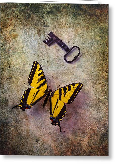 Antenna Greeting Cards - Yellow Butterfly With Key Greeting Card by Garry Gay