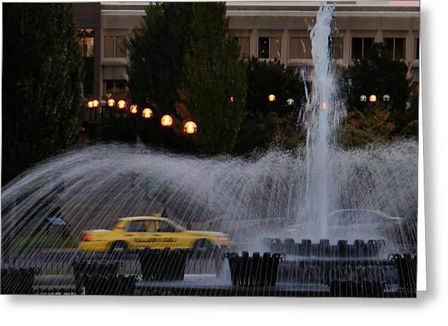 Sculptural Decoration Greeting Cards - Yellow Cab and Fountain Greeting Card by Patricia Strand