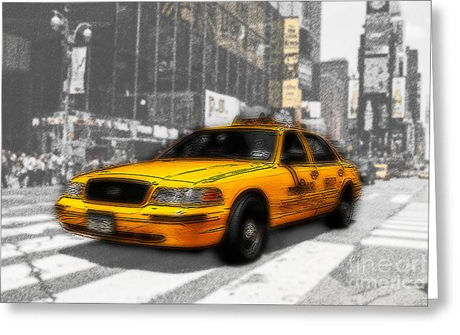 Yellow Cab at the Times Square -comic Greeting Card by Hannes Cmarits
