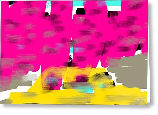 Etc. Digital Art Greeting Cards - Yellow Cab Big City Greeting Card by James Eye