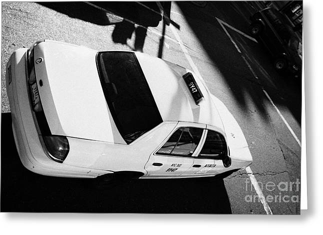 Yellow Cab From Above On Street New York City Taxi Usa Greeting Card by Joe Fox