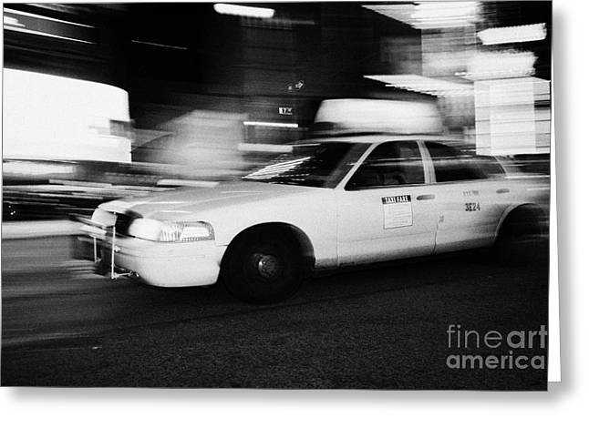 Manhatan Greeting Cards - Yellow Cab In Times Square At Night New York City Taxi Greeting Card by Joe Fox