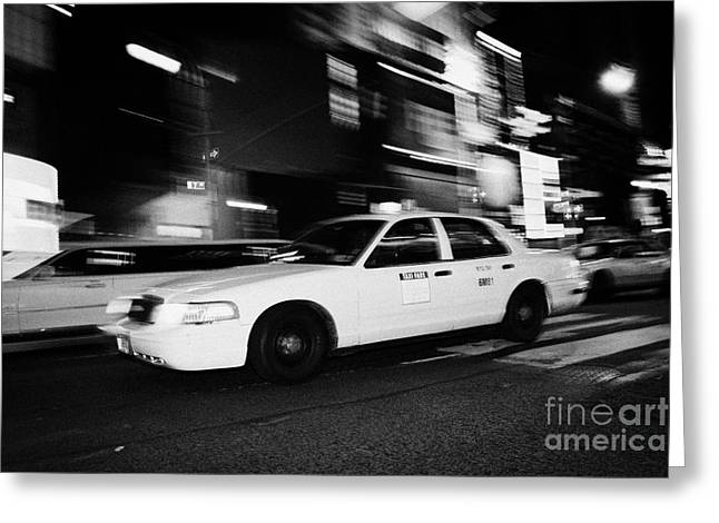 Manhaten Greeting Cards - Yellow Cab New York City At Night Greeting Card by Joe Fox