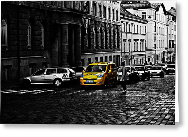 Crosswalk Greeting Cards - Yellow Cab of Prague Greeting Card by Mountain Dreams