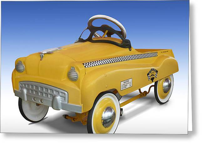 Yellow Cab Greeting Cards - Yellow Cab Peddle Car Greeting Card by Mike McGlothlen