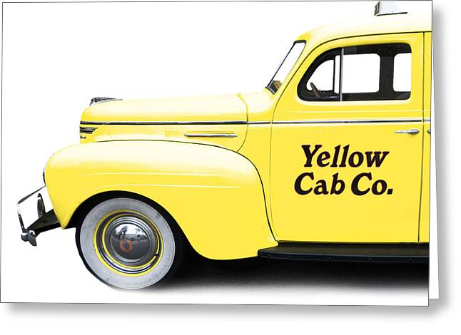 Classic Automobile Art Greeting Cards - Yellow Cab Square Greeting Card by Edward Fielding