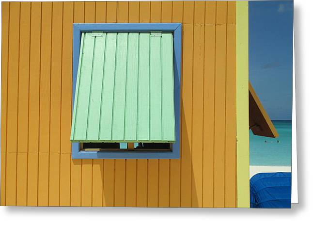 Cabin Window Greeting Cards - Yellow Cabin Greeting Card by Randall Weidner