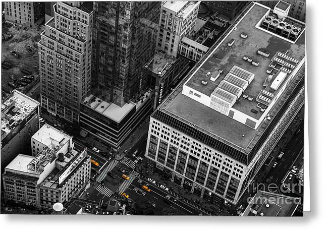 Yellow Cabs - Bird's Eye View Greeting Card by Hannes Cmarits