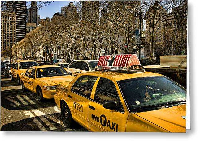 Hail A Cab Greeting Cards - Yellow cabs Greeting Card by Joanna Madloch