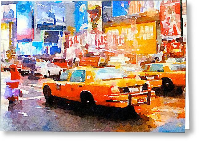Live Art Greeting Cards - Yellow Cabs NYC Greeting Card by Yury Malkov