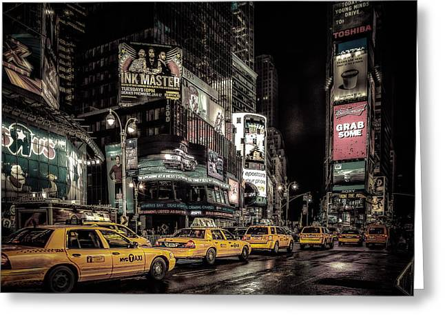 5th Avenue Place Greeting Cards - Yellow cabs Greeting Card by Oleg Koryagin